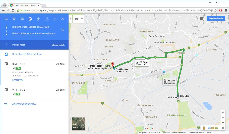 Google Terkepen A Pecsi Buszjaratok Biokom Mobilitasi Kozpont